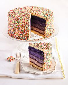 A colorful and fun cake, covered in sprinkles. The inside has five layers, with various shades of purple. The creator used Wilton coloring gel to achieve the correct shade for each layer.  The cake also has blackcurrant jam between each layer.