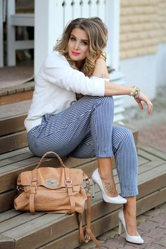 striped pants with neutral tones