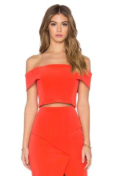 NICHOLAS BLUSA CROPPED TECHNICAL BONDED OFF SHOULDER