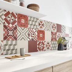Décorez Les Murs De La Cuisine, Avec Un Carrelage Effet Carreaux De Ciment  Rouge Et