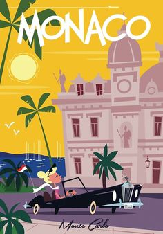 Monaco, Railway Posters, Art Deco Posters, Travel Cards, Travel Illustration, Ad Art, Book Images, Illustrations And Posters, Retro Art