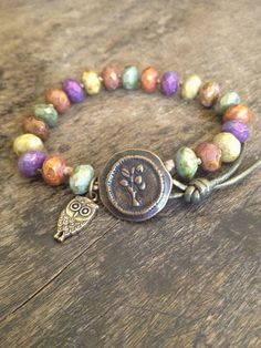 COLORS!!!!    USE CERAMIC OWL BEADS.MICHAELS/HOB LOB....................Tree of Life, Owl Hand Knotted Bracelet, Multi Color Bohemian Jewelry