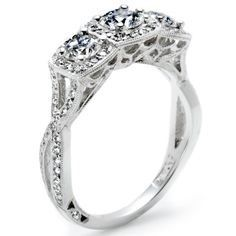 Side view of Tacori 3 stone ring