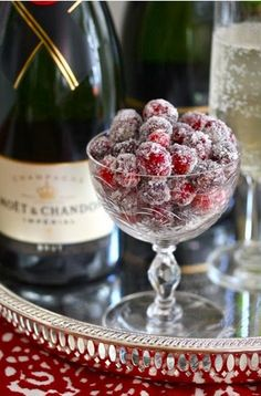 Sugared cranberries are nice garnish for champagne, or fall table decoration.