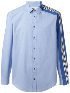 MSGM One Striped Sleeve Shirt. - Men's style, accessories, mens fashion trends 2020 Chemise Fashion, Shirt Collar Styles, Mens Designer Shirts, Polo T Shirts, Pants Pattern, Costume, Mens Sweatshirts, Skinny, Shirt Sleeves