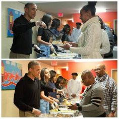 The obama family giving out thanksgiving dinner. To homeless  Can they get a amen with a lot of likes 11/24/16