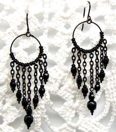 Peruvian Chandelier Earrings Black Anodized and Black Czech Bead 8365-B Chandelier