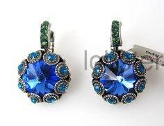 MARIANA ROUND SILVER EARRINGS ELECTRIC SAPPHIRE BLUE TEAL SWAROVSKI CRYSTAL NEW #MarianaJewelry