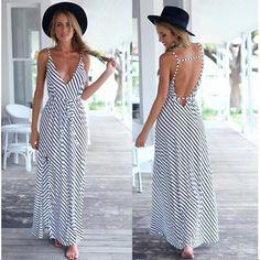 bc75c23f5d Summer Dress Sexy Casual Boho Beach Long Dress Black White Striped V-neck  Halter Strap Maxi Dress Women Dresses Vestidos