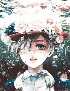 Black Butler Ciel Phantomhive under water with bubbles and a hat with flowers…this was from the school episode which i don't remember the name.the derek(? Black Butler Anime, Black Butler 3, Ciel Phantomhive, Anime Kuroshitsuji, Black Butler Kuroshitsuji, Fanarts Anime, Manga Anime, Anime Art, Ciel Anime