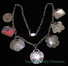 Vintage Antique Sterling Silver FOREE Luggage Tag Estate Necklace