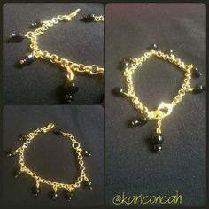 Bracelet golden black pulseira dourada corrente com contas pretas by @kariconcah #semfiltro #pulseiras