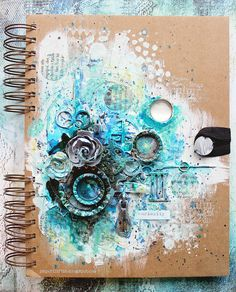 Curiosity art journal cover by Riikka Kovasin for Mixed Media Place
