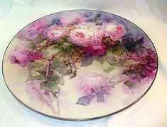 Victorian signed 16 in HP rose limoges charger platter! Marked T, Limoges, France Hand Painted Plates, Decorative Plates, Antique Plates, Vintage Plates, Vintage Roses, China Platter, Limoges China, Decoupage, Antique Paint