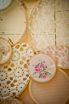 hanging embroidery hoops // photo by Swoon Over It // View more: http://ruffledblog.com/romantic-terrain-wedding/