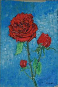 ROSA ROSSA E BOCCIOLI acrilic on canvas 20x30