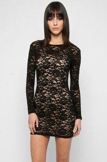 Lace Bodycon Dress in Black
