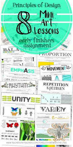 Every year I use my principles of design worksheet in my Introduction to art course. This printable worksheet covers the principle of design, rhythm. #principlesofdesign #rhythm #art #printable #tpt