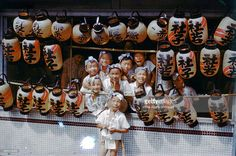 Local children attend the Hakata Gion Yamakasa festival on July 14, 1955 in Fukuoka, Japan.