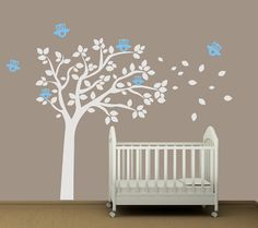 Baby Nursery Wall Decal Tree with Owls  by AirlieCreations on Etsy, $72.00