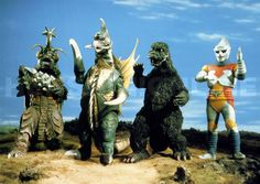 """Image of Megalon (Megalon, Gigan, Godzilla, Jet Jaguar from """"Godzilla vs. Megalon"""") - Giant Bomb  WHO ELSE REMEMBERS THESE GUYS? AM I RIGHT?"""