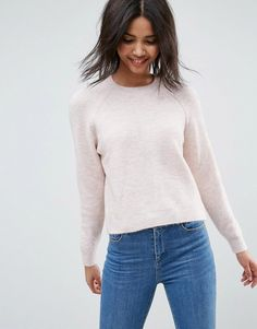 ASOS Sweater In Fluffy Yarn With Crew Neck - Pink