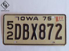 Placa - Matrícula metálica original de USA - Iowa 1975 - Vintage - Antigua - 1