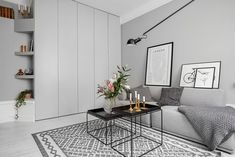 my scandinavian home: Shades of grey in a small living space; clothing closet in living room Small Space Living, Tiny Living, Home And Living, Small Spaces, Living Spaces, Living Room, Decoration Gris, Compact Living, Built In Wardrobe