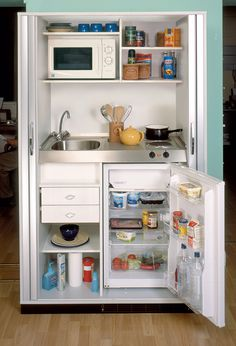 gallery kitchen design micro kitchen-- all organized with exactly what you need and NO clutter!