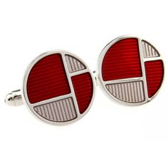 Red and White Enamel Round Cufflinks for men