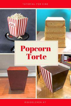 Anleitung für eine Popcorn Torte, die wie eine Popcorn Tüte aussieht!