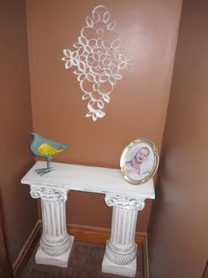 DIY: Table from Columns- would diy columns as well, make one to go over back of toilet and over inside of the door