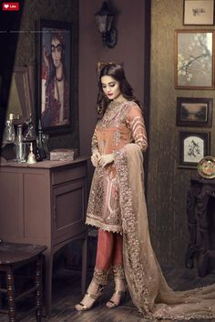 Buy Online Imrozia Premium Embroidered Chiffon Collection 2018 - AN Fabrics Pakistani Party Wear Dresses, Pakistani Wedding Outfits, Dress Indian Style, Indian Outfits, Indian Dresses, Indian Wear, Pakistani Clothes Online, Casual Dresses, Fashion Dresses