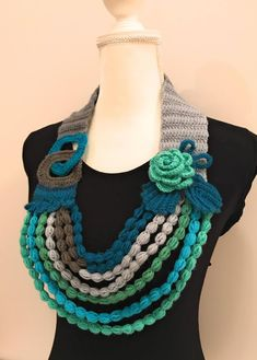 Valentine's Day Crochet Necklace Scarf with Rose Necklace   Etsy