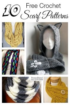 10 Free Crochet Scarf Patterns: The weather is changing and it's time to make cold-weather gear! Here are 10 free crochet scarf patterns to get you started! Love the grey and white Learn To Crochet, Diy Crochet, Crochet Crafts, Crochet Ideas, Crochet Scarves, Crochet Shawl, Crochet Clothes, Crotchet Patterns, Scarf Patterns