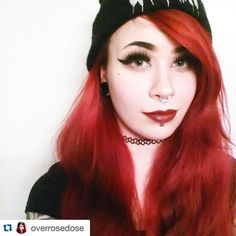 """What a lovely color here on @overrosedose ❤️she have used our Felicia Fire!  #hermansamazinghaircolor #hermansprofessional #redhair #redlips #septum…"""