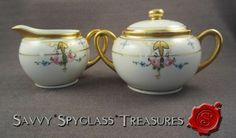 Pickard Studios Japan Porcelain Hand Painted Roses & Gold Cream and Sugar Set