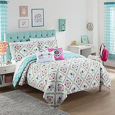 The allover elephant print in a playful tilework layout of this Waverly Kids Bollywood Reversible Comforter Set creates a serene and relaxing bedroom atmosphere. Reverse features a decorative diamond trellis in aqua and white. Kids Comforter Sets, Kids Comforters, Teen Bedding, Queen Comforter Sets, Bedding Sets, Boho Bedding, Unique Bedding, Bollywood, Diy Home