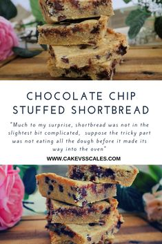 Chocolate Chip Shortbread ⋆ Cake Vs Scales from { { FeedTitle} }{ { EntryUrl} } Butter Pecan Cookies, Lemon Cookies, Dark Chocolate Chips, Chocolate Chip Cookies, Shortbread Cake, Buttery Biscuits, Shortcrust Pastry, Low Calorie Snacks, Food Crush