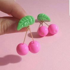 Kawaii Food Jewelry Pink Accessories Pinup Jewelry by FatallyFeminine Funky Earrings, Simple Earrings, Diy Earrings, Polymer Clay Earrings, Kawaii Jewelry, Kawaii Accessories, Cute Jewelry, Cherry Earrings, Bling