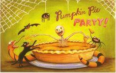 Pumpkin Pie Party by Matthew Kirscht Halloween Scene, Halloween Prints, Halloween Pictures, Halloween Night, Happy Halloween, Halloween Party, Haunted Halloween, Vintage Halloween Cards, Halloween Goodies