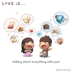 Love is. talking about everything with you! : HJ-Story Loved & pinned by… Hj Story, Cute Love Cartoons, Cute Cartoon, Cute Love Stories, Love Story, Love Is Sweet, What Is Love, Love Of My Life, My Love
