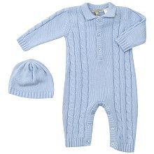 Wendy Bellissimo Cable Sweater, Knit Coverall and Booties Set -Blue (Newborn)