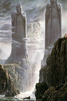 The Pillars of the Kings by Ted Nasmith- amazing illustration ! Legolas, Gandalf, Aragorn, Fantasy Places, Fantasy World, Fantasy Art, Jrr Tolkien, O Hobbit, Fellowship Of The Ring