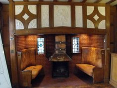 :: Broneirion - inglenook in conference room, near to Llandinam, Powys, Great Britain by Penny Mayes Fireplace Seating, Inglenook Fireplace, Home Fireplace, Fireplace Design, Fireplaces, Arts And Crafts Interiors, Arts And Crafts House, Craftsman Interior, Interior And Exterior