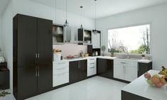 L Shaped Kitchen Interior, L Shaped Kitchen Cabinets, Modern L Shaped Kitchens, L Shaped Modular Kitchen, L Shaped Kitchen Designs, Modern Kitchen Cabinets, Kitchen Cabinet Design, Kitchen Layout, Interior Design Kitchen