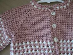 Crochet Pink Rose White Girl Sweater. 06 by ForBabyCreations
