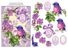 Lilac Bird with Roses Card Front on Craftsuprint designed by Judith Mary Howells - A 7 x 5 inch card front featuring a gorgeous bird, lace frame and rose embellishments with decoupage pieces and greeting tags for WISHING YOU A VERY HAPPY BIRTHDAY, BEST WISHES ON YOUR RETIREMENT, TO MY WONDERFUL MOTHER and BLANK for any other wording/occasion. - Now available for download!