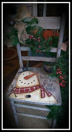 40 Top Diy Painted Chair Designs Ideas Try - Page 34 of 47 Christmas Chair, Christmas Signs, Outdoor Christmas, Rustic Christmas, Christmas Art, Christmas Projects, Winter Christmas, Christmas Decorations, Christmas Ornaments