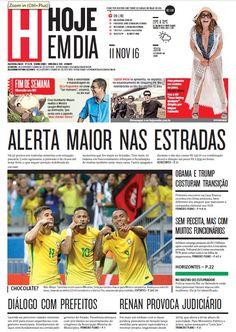 Capa do dia 11/11/2016 #HojeEmDia #Jornal #Notícias #News #Newspaper